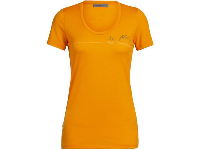 Icebreaker Tech Lite Single Line Camp Maglietta a maniche corte Donna, arancione